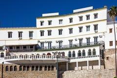 Tanger Marocko, vitt hus, kontinentalt hotell arkivbilder