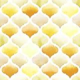 Tanger-Wolldecke von gelben Farben auf weißem Hintergrund Nahtloses Muster des Aquarells Würziger Senf Lizenzfreies Stockbild