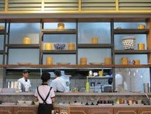 Asian restaurant in Tangerang. TANGERANG, INDONESIA - September 13, 2017: A kitchen of an Asian restaurant Royalty Free Stock Photography