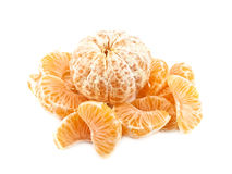 Tangerin. The whole tangerine and the parts of it Royalty Free Stock Images