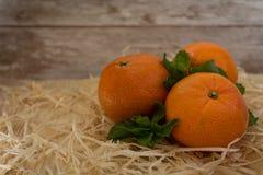Tangerin för ` s för nytt år på en träbakgrund Arkivfoton