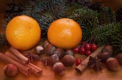 Tangerin, muttrar, kanelbruna pinnar och granfilialer på träbakgrund Royaltyfri Fotografi
