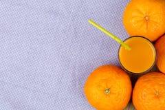 Tangerin och fruktsaft med trämassa Royaltyfria Bilder