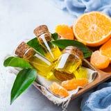 Tangerina essencial orgânica, o mandarino, óleo da clementina fotografia de stock royalty free