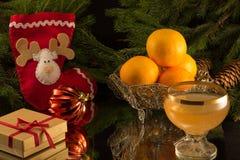 Tangerinas e um vidro da efervescência foto de stock royalty free