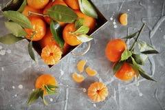 Tangerinas frescas com as folhas na cesta de aço na pedra cinzenta Imagem de Stock