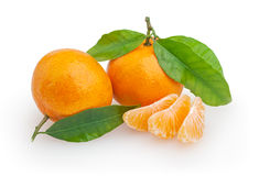 Tangerinas isoladas no branco Foto de Stock Royalty Free