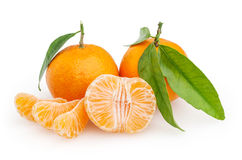 Tangerinas isoladas no fundo branco Fotos de Stock Royalty Free