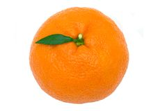 Tangerine. Close-up view of isolated tangerine against white background royalty free stock photography
