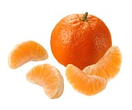 Tangerine. With four segments isolated over white Stock Image