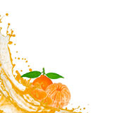 Tangerine. With slices and splash isolated on white stock illustration
