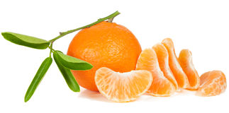 Tangerine. And it's slices with green leaves on white royalty free stock image