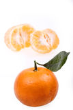Tangerine. With leaf on a white background Royalty Free Stock Image