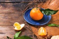 Tangerine auf blauer Platte Lizenzfreies Stockfoto
