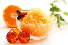 Tangerine bath. Bath salt and fresh fruits Royalty Free Stock Photography