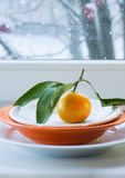Tangerine with a branch and leaves on  plate against the background of  window  the snow. Tangerine with a branch and leaves on a plate against the background of Royalty Free Stock Images