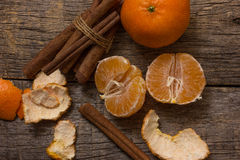 Tangerine  and cinnamon Stock Images