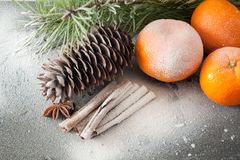 Tangerine and cinnamon. Ripe tangerine and cinnamon in the snow Stock Photography