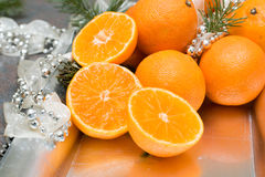 Tangerine. Citruses decorated for new year Stock Images