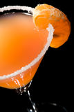Tangerine cocktail, XXL. 24 Megapixel shot of pink cocktail, focus is on salt and tangerine, extreme detail, double exposure used Stock Photography