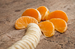 Tangerine concept and palm-shaped banana Royalty Free Stock Image