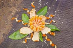 Tangerine częsciowo strugający czyścić Zdjęcie Stock