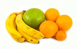 Tangerine das bananas das laranjas e pamplumossa verde Foto de Stock