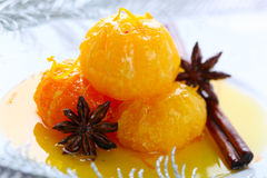 Tangerine dessert with star anise and cinnamon Royalty Free Stock Image