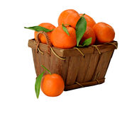 Tangerine in einem hölzernen Korb Stockbilder