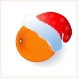 Tangerine in einer Kappe des neuen Jahres von Santa Claus vektor abbildung