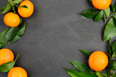 Tangerine fruits on dark table. Dark slate table with tangerine fruits for background with copy space Royalty Free Stock Images