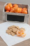 Tangerine and gingebread. Slices of tangerine with gingerbread cookies with box of mandarins on the background royalty free stock photography