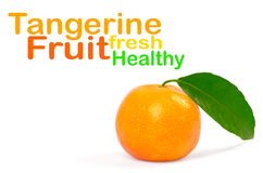 Tangerine with green leaves. On white Stock Images