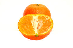 Tangerine with halve isolated on white background Royalty Free Stock Images