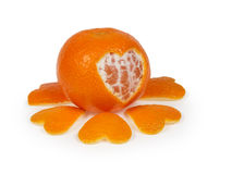 Tangerine with heart Stock Photo