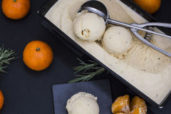 Tangerine ice-cream. In cake mold Stock Images