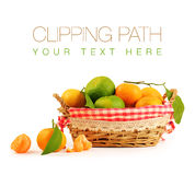 Tangerine inside basket with clipping path Stock Images