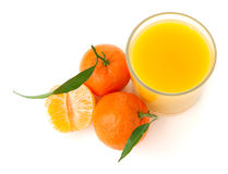 Tangerine juice. Above view, isolated on white Stock Photography