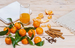 Tangerine juice. Cinnamon and cloves stock image