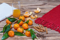 Tangerine juice , cinnamon and cloves.  royalty free stock photos