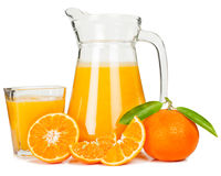 Tangerine juice and tangerines Royalty Free Stock Image