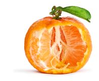 Tangerine with leaf isolated Royalty Free Stock Photo