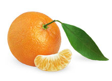 Tangerine with leaf and slice Stock Image