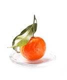 Tangerine with leaves Royalty Free Stock Photography