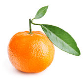 Tangerine with leaves  on white Stock Photos