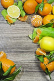 Tangerine and lemon border frame. Various citrus fruits as border frame on wooden background Royalty Free Stock Photo
