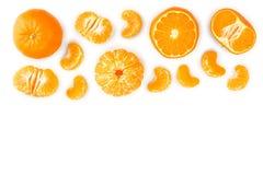 Tangerine lub mandarynka na białym tle z kopii przestrzenią dla twój teksta Odgórny widok Mieszkanie nieatutowy obraz stock