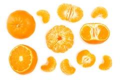 Tangerine lub mandarynka odizolowywający na białym tle Odgórny widok Mieszkanie nieatutowy fotografia stock