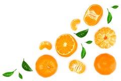 Tangerine lub mandarynka odizolowywający na białym tle z kopii przestrzenią dla twój teksta Odgórny widok Mieszkanie nieatutowy obrazy stock