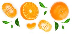 Tangerine lub mandarynka odizolowywający na białym tle z kopii przestrzenią dla twój teksta Odgórny widok Mieszkanie nieatutowy zdjęcia stock